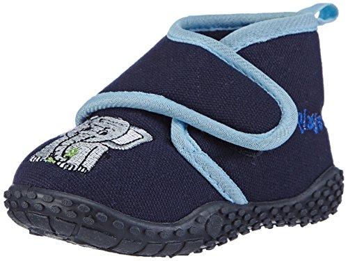 Playshoes Kinder Hausschuhe mit praktischem Klettverschluss, niedliche Hüttenschuhe für Mädchen und Jungen, mit Elefant-Motiv,Blau (Original 900),24/25 EU
