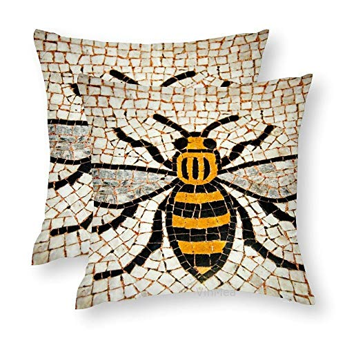 VinMea Set of 2 Decorative Throw Pillow Covers Manchester Bee Silky Cushion Covers for Sofa Home Pillow Cases 20x20 Inch
