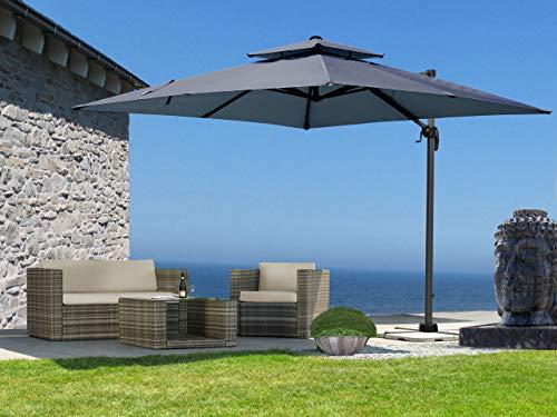 QUICK STAR Ampelschirm Premium Mallorca 3x3m Grau mit Schutzhülle UV 50 Terrassenschirm Sonnenschirm