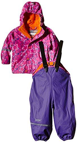 CareTec Kinder wasserdichte Regenlatzhose und -jacke im Set (verschiedene Farben), Mehrfarbig (Purple 633), 104
