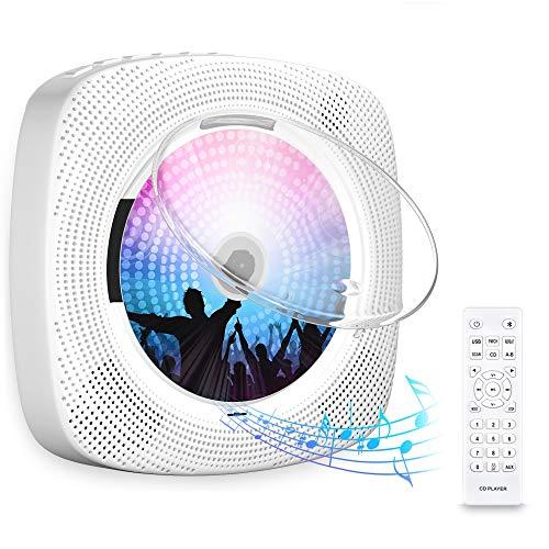 Gueray CD-Player für Wandmontage mit Bluetooth HiFi Lautsprecher Fernbedienung LED-Display Unterstützt FM-Radio USB-Player mit 3,5 mm Kopfhöreranschluss mit Staubschutzhülle
