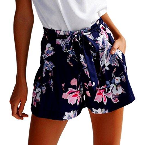 Bekleidung Longra Damen Kurze Hosen Hotpants Sommer Casual Shorts High Waist Shorts (S, Dark Blue 08)