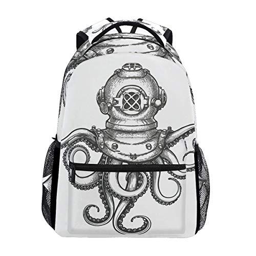 Schultasche Octopus Tauchschule Mode Leichter Rucksack Casual Travel College Print Schule Laptop Langlebiges Geschenk Daypack