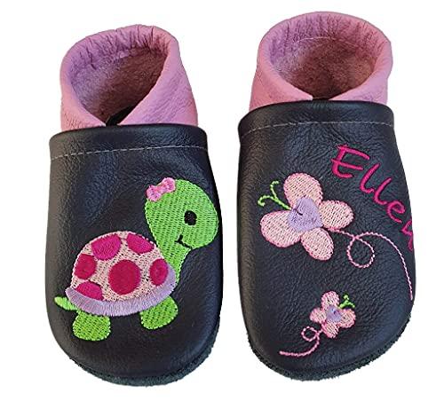 Schildkröte und Schmetterlinge Krabbelschuhe aus Leder mit Namen Name bestickt dunkelblau/rosa Mädchen