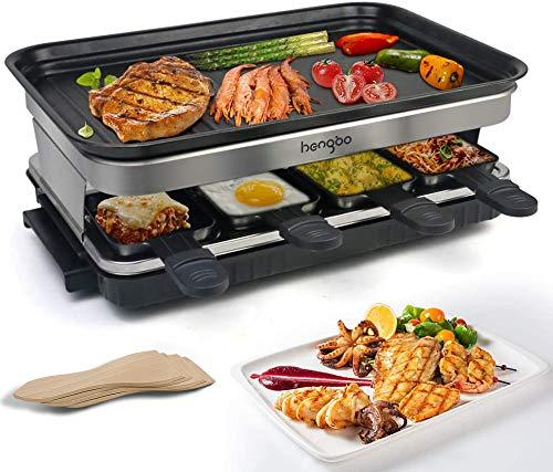 Raclette Grill mit Antihaftbeschichtet 8 Pfännchen, für 8 Personen 1500W, 4 oder 8 Pfannen werden zufällig verschickt