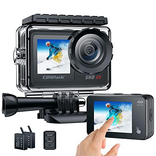 Action cam Dual Touchscreen Action Kamera 4K/30fps unterwasserkamera wasserdichte Sports Kamera 20MP Ultra HD Anti-Shake 170 ° Weitwinkel WiFi 2.4G Fernbedienung Zeitraffer 2X1350 Batteries Campark