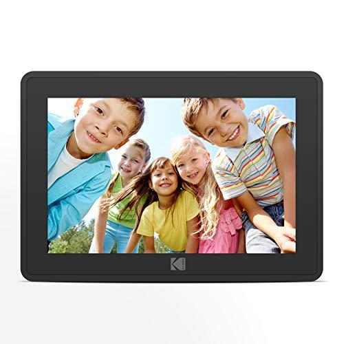 Digitaler Bilderrahmen Wlan, KODAK Touch Elektronischer Bilderrahmen 10.1 Zoll Smart Fotorahmen 1080P mit 8 GB Speicher, Automatischer Drehung, Einstellbarer Helligkeit, iOS- und Android-App (Schwarz)