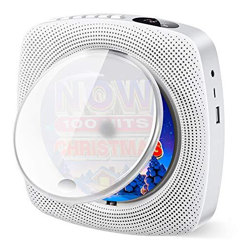 Tragbarer CD Player mit Bluetooth eingebauten HiFi Lautsprechern, Wandmontage Home Audio Boombox, FM Radio, USB MP3 Musik Player, 3,5 mm Kopfhöreranschluss AUX, Geschenke für Kinder Weihnachten (Weiß)