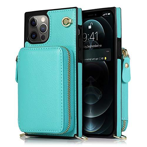 Jacquelyn Zipper Wallet Case Entwickelt für iPhone 12 Pro Max mit Kreditkartenschlitz und Schultergurt (Color : Blue)