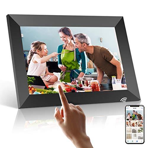 WiFi Digitaler Bilderrahmen, PODOOR Touch Elektronischer Bilderrahmen 10.1 Zoll Smart Fotorahmen 1080P mit 16 GB Speicher, Automatischer Drehung, Einstellbarer Helligkeit, iOS- und Android-App