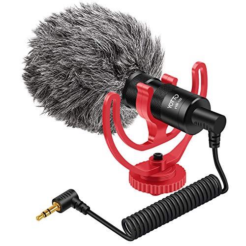 YOTTO Richtmikrofon VideoMikrofon für DSLR Kamera Camcorder iPhone, Android Smartphones,Canon EOS Kamera Mikrofon Shotgun Mikrofon mit Windschutz, 3.5 mm TRS, Stoßdämpferhalterung