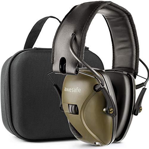 Awesafe Gehörschutz für Schießstand, Elektronischer Gehörschutz für Schlagsport [Kommt mit Hard Travel Lagerung Tragetasche], Gehörschutz, NRR 22 dB, Ideal für Schützen und Hunting(Grün)