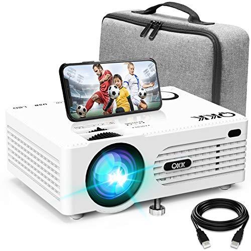 AK-80 Beamer mit Tragetasche Unterstützt 1080P Full HD, 5000 Lumen Projektor, Native 720P Video Beamer kompatibel mit TV-Stick Spiel Konsole Smartphone HDMI VGA SD AV und USB, weiß, MEHRWEG.