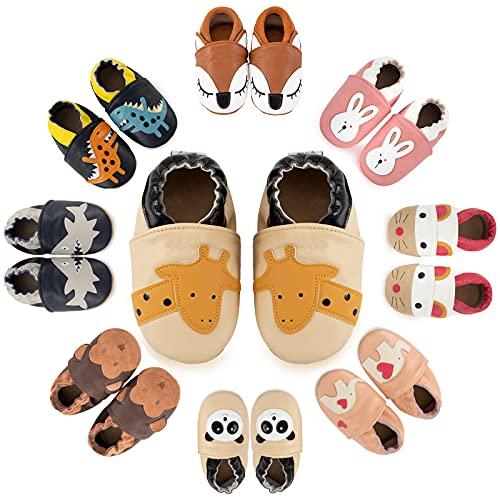MARITONY Baby Krabbelschuhe Leder Lauflernschuhe Jungen Mädchen Babyschuhe Weicher Leder Kleinkind Hausschuhe mit Rutschfesten Wildledersohlen 6-12 Monate BeigeGiraffe