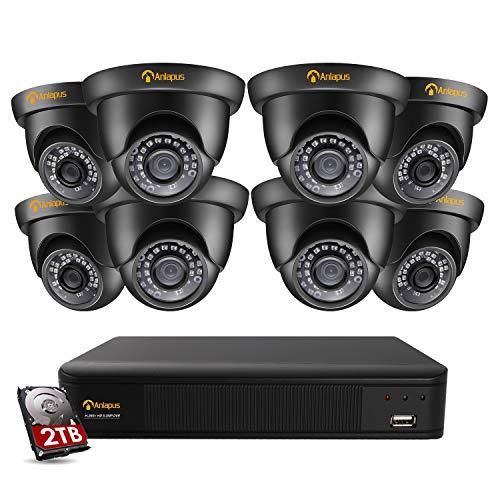 Anlapus 8CH H.265+ 5.0MP Video Überwachungskamera Set mit 2TB Festplatte und 8 Außen Dome 1920P Sicherheitskamera CCTV System für Haus Sicherheit, 20M Nachtsicht