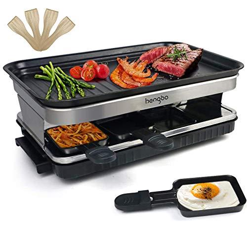 Raclette Grill für 4 6 8 Personen mit 8 Rraclette Pfannen Antihaft-beschichtete Thermisch Isolierte Griffe 1500W Schwarz