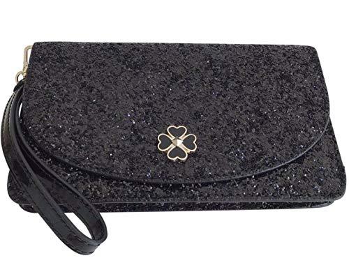Kate Spade New York Multifunctional Glitter Wallet Wristlet Clutch (Black Odette Glitter)