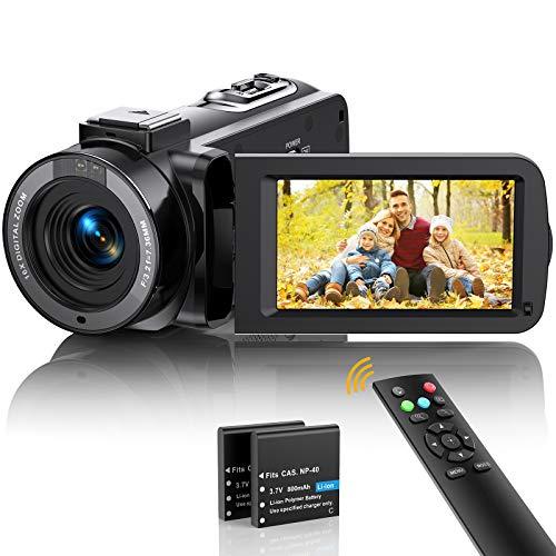 Videokamera Camcorder FHD 1080p 36MP Vlogging Kamera für YouTube IR Nachtsicht 30FPS Digitalkamera 3,0'' 270°Drehbarer IPS Bildschirm Kamera mit 16X Digitalzoom, Fernbedienung, 2 Batterien