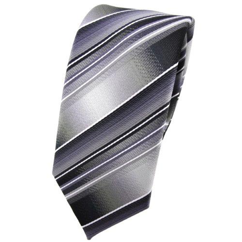 schmale TigerTie Designer Krawatte in grau silber anthrazit hellgrau gestreift - Tie Binder