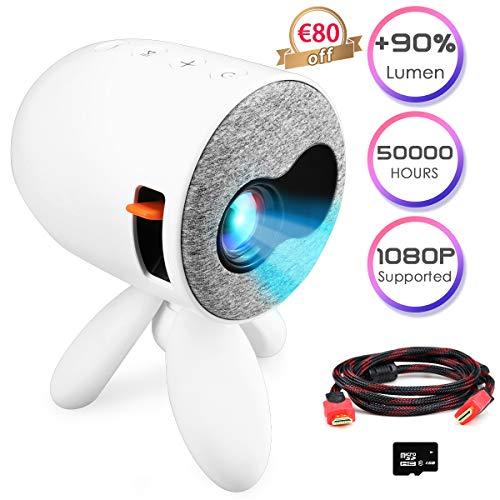 Beamer ,Tsaid Mini Beamer ,Kleiner Video-Beamer HiFi Stereo unterstützt 1080P, LED 50000 Stunden Heimkino Beamer Kompatibel mit HDMI AV USB SD, als Geschenk zu Weihnachten für Kinder