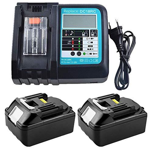 2 Stück 18 V 3000mAh BL1830 Akku mit 3A LCD DC18RCDC18RA Ladegerät Ersatz für Makita Akku-Baustellenradio DMR110 DMR112 DMR107 DMR108 BMR100 BMR102 DMR102 DMR100 18V schnurloses Bluetooth-Radio