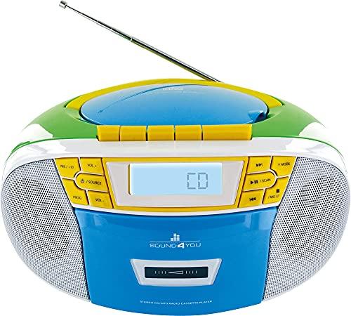 SCHWAIGER 661644- Tragbarer CD-Player mit Kassette und Radio MP3 USB Anschluss UKW FM Radio AUX Kopfhörer Boombox Stereo für zuhause und unterwegs Netz- und Batteriebetrieb Display