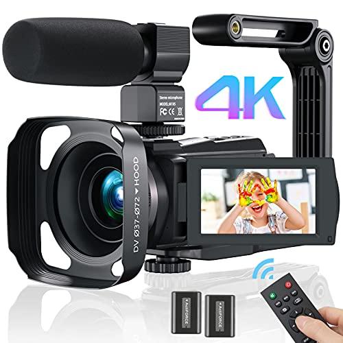 Videokamera Camcorder 4K WiFi, MELCAM Full Hd Video Camcorder 30FPS Vlogging Kamera für YouTube 48MP 16X Digital Zoom 3.0' Touchscreen IR Nachtsicht Camcorder mit Mikrofon,Fernbedienung
