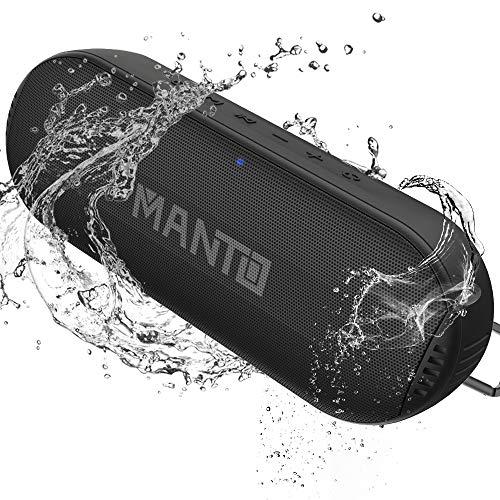 MANTO Bluetooth Lautsprecher Portable Kabellose Lautsprecher Hi-Fi Sound und satte Bässe, Wasserdichter IPX6-Außenlautsprecher Integriertes Mikrofon AUX SD Eingang für iPhone Samsung Android