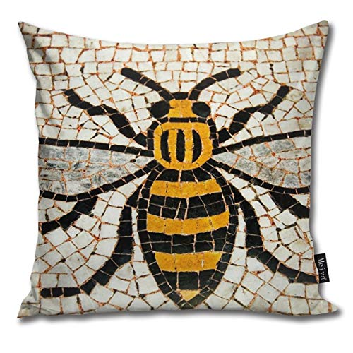 TopYYing Throw Pillow Cover Square Manchester Bee Pillow Cover for Sofa Bedroom Car Decor 18 x 18 Inch 45 x 45 cm