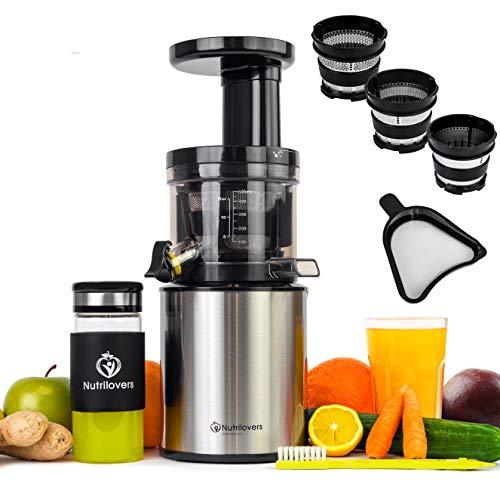 Nutrilovers Slow Juicer Edelstahl Entsafter Saftpresse | Entsaftet elektrisch Obst und Gemüse | nur 45 U/min | BPA-Frei - ULTEM | Extra Sieb für Eis und Sorbet - Rezeptbuch; silber