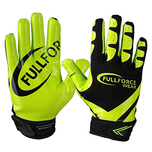 Receiver Football Gloves, Full Force Victory American Football Handschuhe - schwarz/neon grün Gr. M