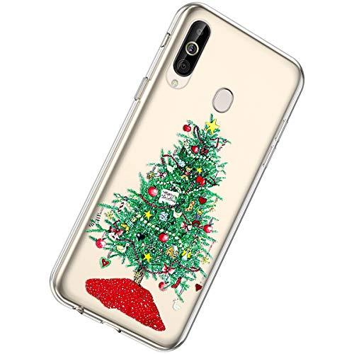 Herbests Kompatibel mit Samsung Galaxy A60 Handyhülle Weihnachten Motiv Muster Durchsichtige Silikon Hülle Transparent Ultra Dünn TPU Crystal Clear Case Schutzhülle,Grün Weihnachtsbaum