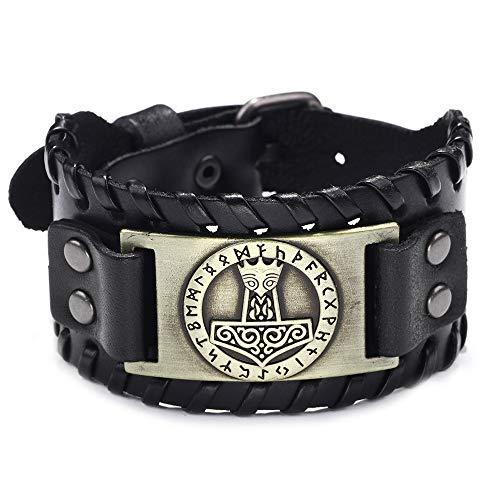 Htulip Wikinger Armbänder Nordischer Thorshammer Mjölnir Leder Geflochten Armband Vintage Amulett Schmuck für Männer Frauen (#3)