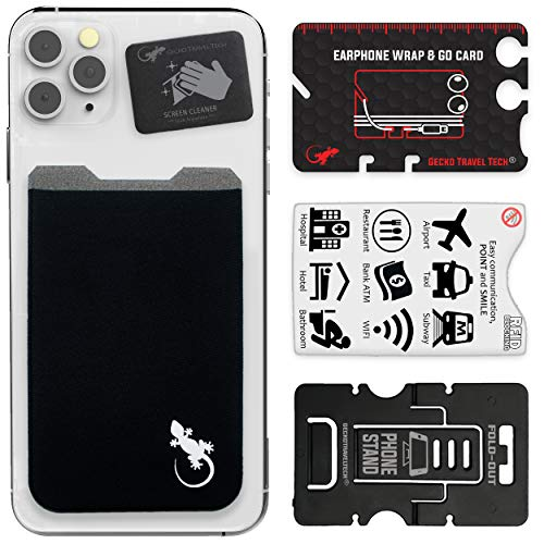 Gecko Travel Tech - ein Kartenhalter - Telefonkartenhalter - Schwarz/Weiss.