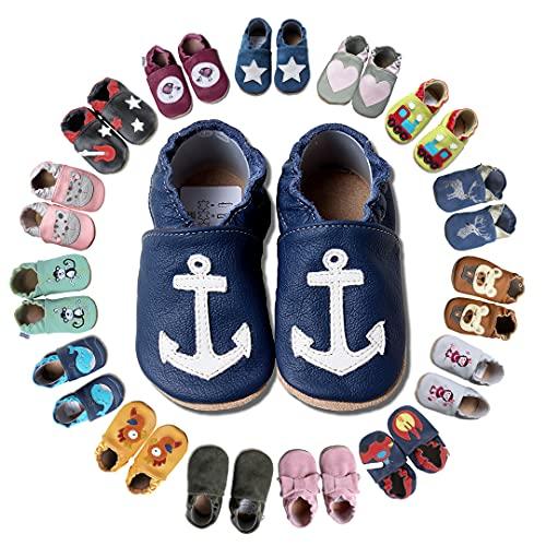 HOBEA-Germany Krabbelschuhe für Jungs und Mädchen in verschiedenen Designs, Kinderhausschuhe Jungen, Lederschuhe, Schuhgröße:26/27 (30-36 Monate), Modell Schuhe:Anker auf dunkelblau
