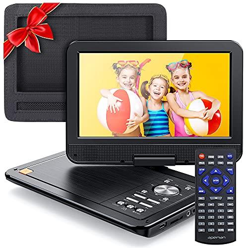 APEMAN Tragbarer DVD Player Auto 10,5'' mit Auto-Kopfstützenhalterung, 5 Stunden Akku, Drehbarer Display Portable CD Player Unterstützt SD/USB/AV Out/IN