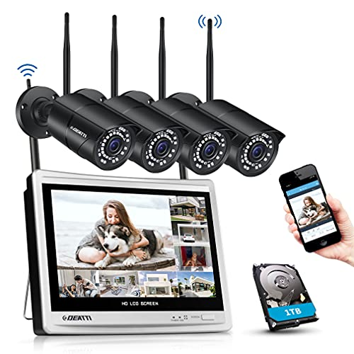DEATTI 8CH 3MP Überwachungskamera Set Aussen WLAN mit 12 Zoll LCD Monitor, Funk NVR Überwachungssystem mit 4X 3MP WLAN IP Kamera, Videoüberwachung, 1TB Festplatte