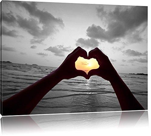 Hände zu einem Herz geformt schwarz/weiß Format: 100x70 auf Leinwand, XXL riesige Bilder fertig gerahmt mit Keilrahmen, Kunstdruck auf Wandbild mit Rahmen, günstiger als Gemälde oder Ölbild, kein Poster oder Plakat