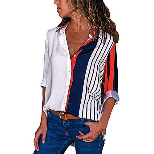 MRULIC Damen Shirt Tie-Bow Neck Striped Langarm Spleiß Bluse Gestreift Damen Tragen(T4-Mehrfarbig,EU-40/CN-L)
