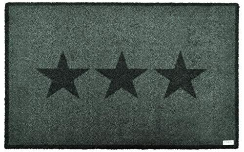 Fußmatte waschbar innen und außen | Fussmatte rutschfest Grau | Antirutsch Türmatte modern | Fußabtreter Haustür | Schmutzmatte Eingangsbereich | Schuh-Abtreter 50x70 cm | Stern