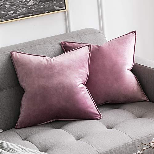MIULEE 2er Set Samt Kissenbezug Kissenhülle Dekorative Dekokissen mit Verstecktem Reißverschluss Sofa Schlafzimmer 18x 18 Inch 45 x 45 cm 2er Set Pink Lila