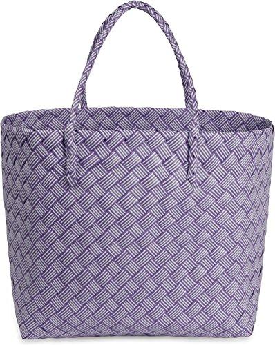 normani Robuster Kunststoff Einkaufskorb/Shopper/Strandkorb geflochten aus Wasserdichtem Material Farbe Purple