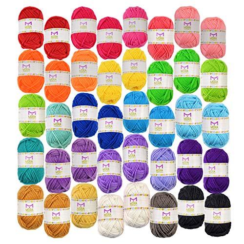 Standard Garnknäuel Packung - 40 Acryl Garn Stränge – Erlesene Farben – Perfekt für jedes Häkel- und Strickprojekt
