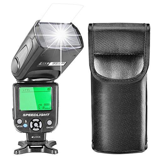 Neewer i-TTL Speedlite Blitz mit LCD Anzeige, Hartem Diffuser und schützender Beutel für Nikon DSLR Kameras, wie Nikon D7200 D7100 D7000 D5500 D5300 D5200 D5100 D3300 D3200 D3100 D500 D60 D50 (NW-562)