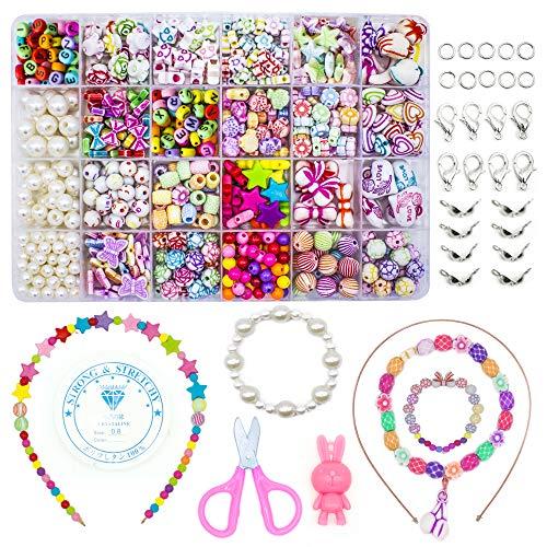 Kinder DIY Perlen Set Schmetterlinge f/ür die Schmuckherstellung f/ür Kinder Bead Halskette Armband als Perlen Geschenk f/ür M/ädchen 500pcs DIY Armb/änder Halsketten Perlen in Formen des Herzens