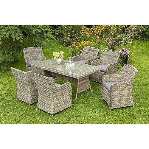 MERXX Gartenmöbel-Set Pistoia 7-tgl. mit Sessel und Tisch 180x90 cm