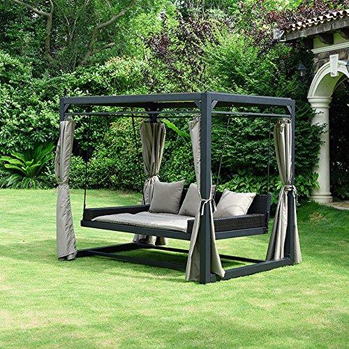 Home Deluxe - Sonnenliege Pavillon Provence - Schwebendes Rattanbett inkl. schließbare Vorhänge | Hollywoodschaukel, Doppel-Gartenliege, Lounge-Pavillon