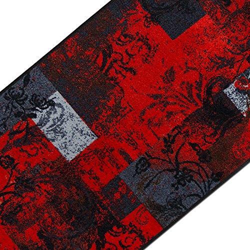 casa pura Teppichläufer mit modernem Design in brillianten Farben | hochwertige Meterware, gekettelt | Kurzflor Teppich Läufer | Küchenläufer, Flurläufer (80x150 cm)