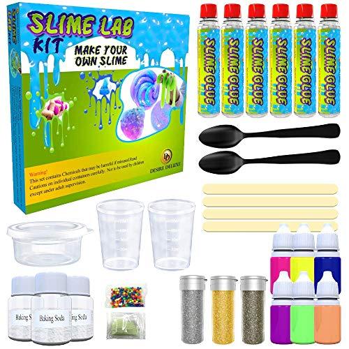 Desire Deluxe Schleim Set (30 teilig) zum selber machen, ideales Slime Spielzeug für Kinder ab 3 4 5 6 7 8 9 10 Jahren, Wissenschaft Lernspiel, Geschenk für Jungen und Mädchen