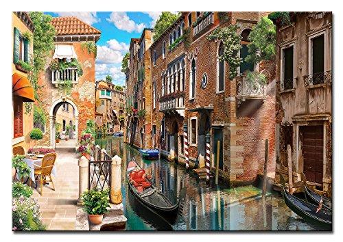 Berger Designs - Wandbild auf Leinwand als Kunstdruck in verschiedenen Größen. Romantische Straße in Venedig. Beste Qualität aus Deutschland (120 x 80 cm BxH)
